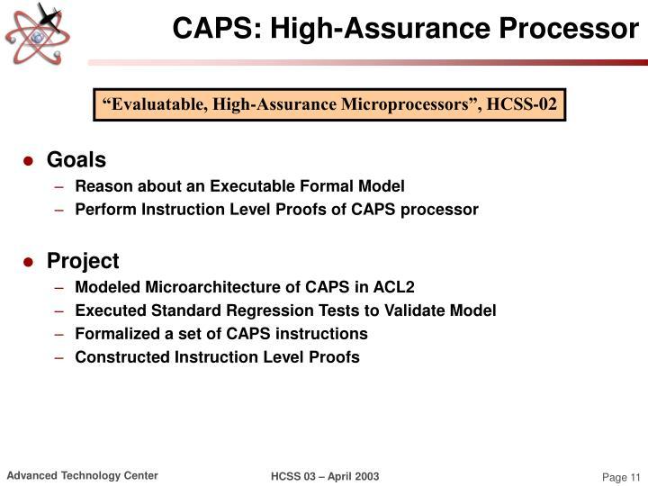 CAPS: High-Assurance Processor