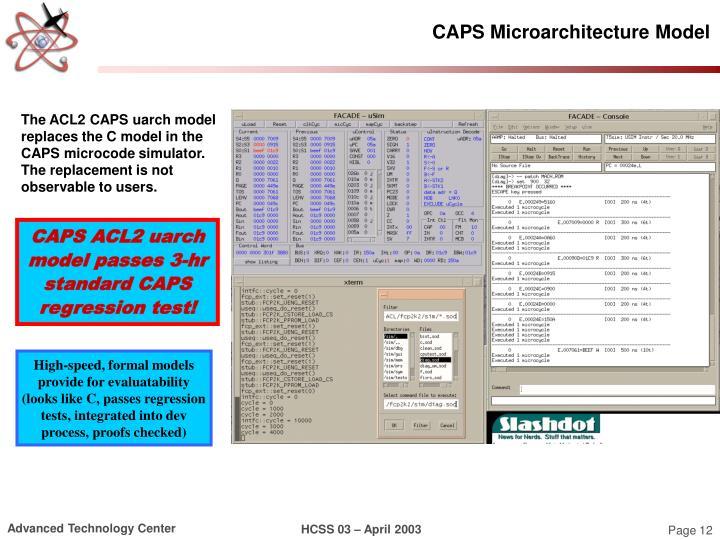 CAPS Microarchitecture Model