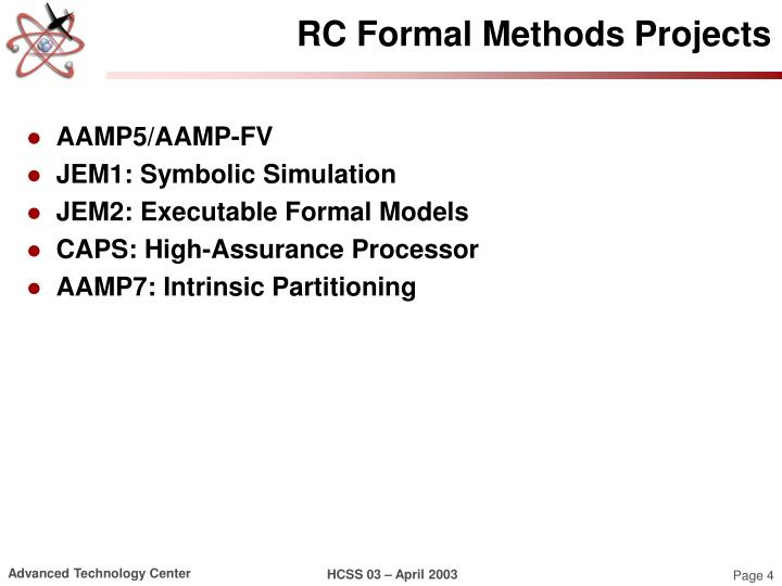 RC Formal Methods Projects