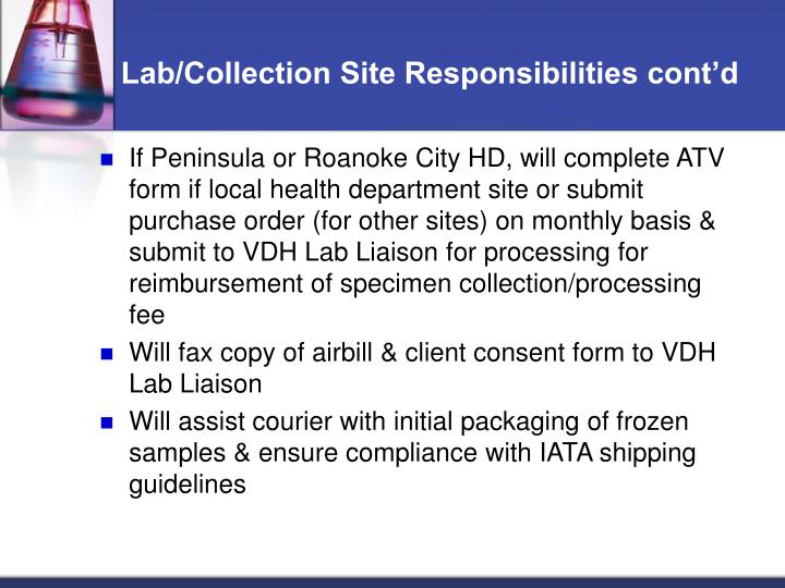 Lab/Collection Site Responsibilities cont'd
