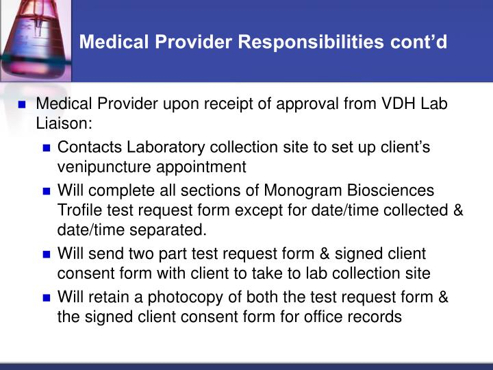 Medical Provider Responsibilities cont'd