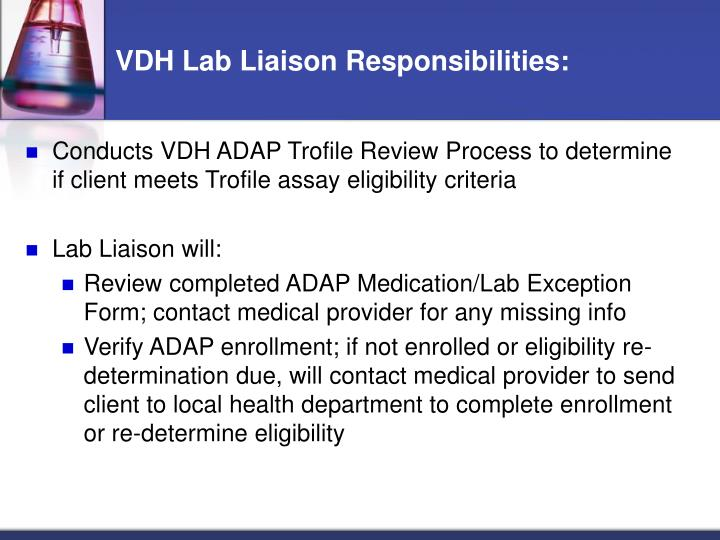 VDH Lab Liaison Responsibilities: