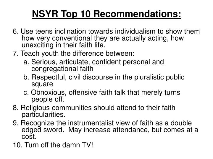 NSYR Top 10 Recommendations: