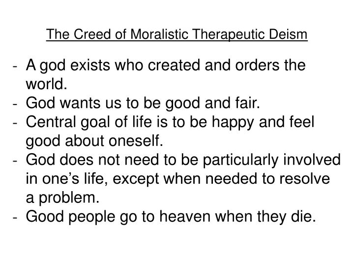 The Creed of Moralistic Therapeutic Deism