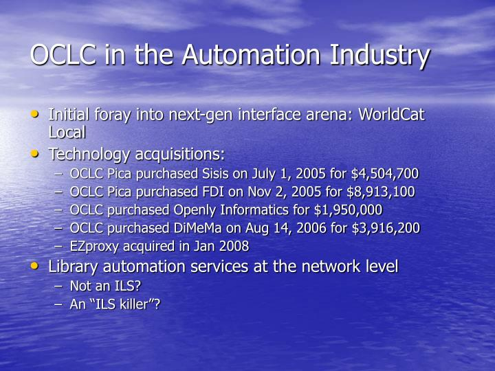 OCLC in the Automation Industry