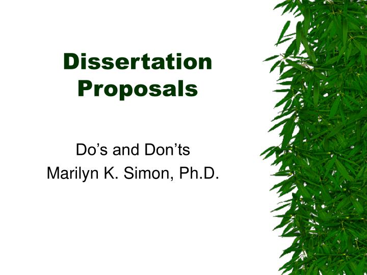 Dissertation Proposals