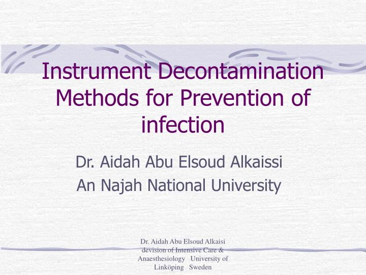 instrument decontamination methods for prevention of infection n.