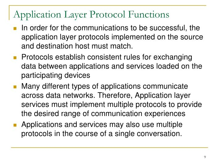 Application Layer Protocol Functions