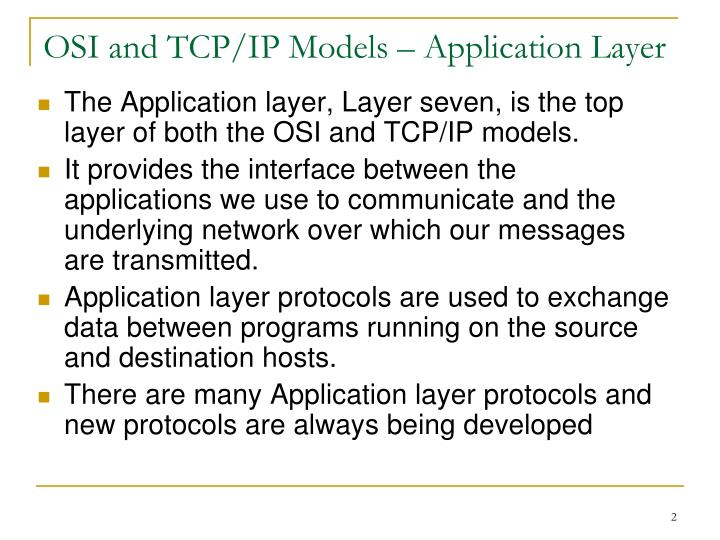 Osi and tcp ip models application layer
