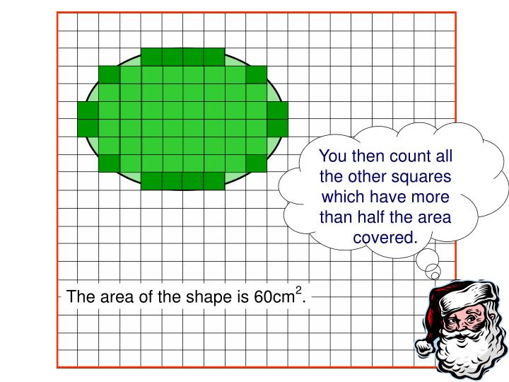 You then count all the other squares which have more than half the area covered.
