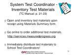 system test coordinator inventory test materials tc manual p 21 23