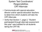 system test coordinators responsibilities crt alternate