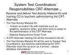 system test coordinators responsibilities crt alternate1