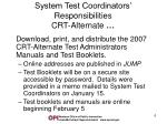 system test coordinators responsibilities crt alternate2