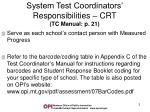 system test coordinators responsibilities crt tc manual p 21