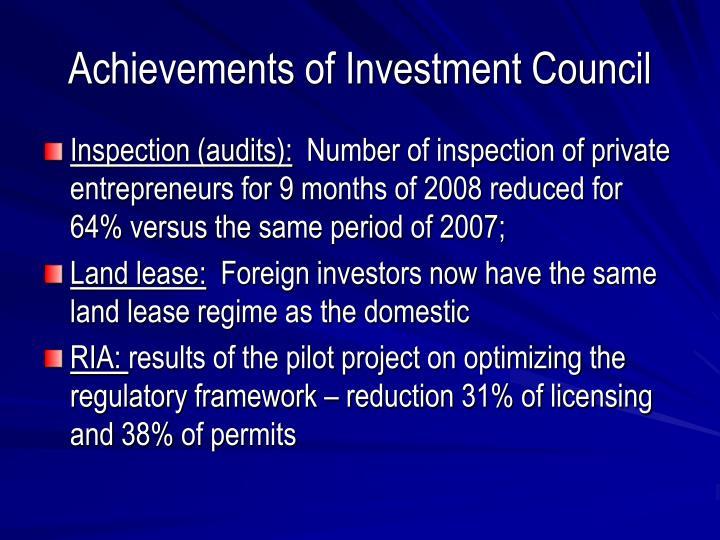Achievements of Investment Council