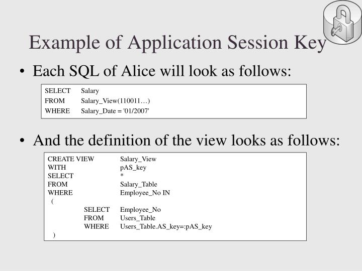 Example of Application Session Key
