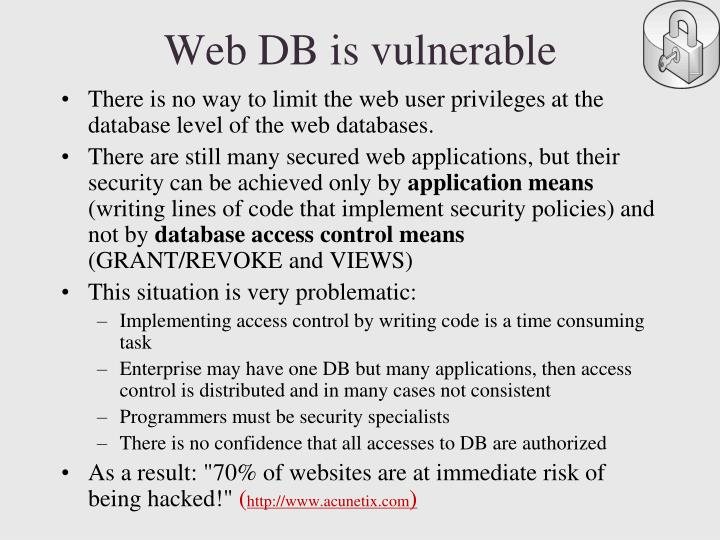 Web DB is vulnerable