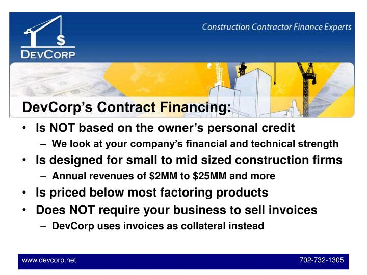 DevCorp's Contract Financing: