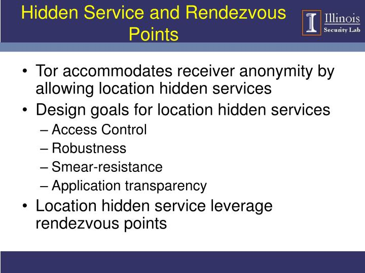 Hidden Service and Rendezvous Points