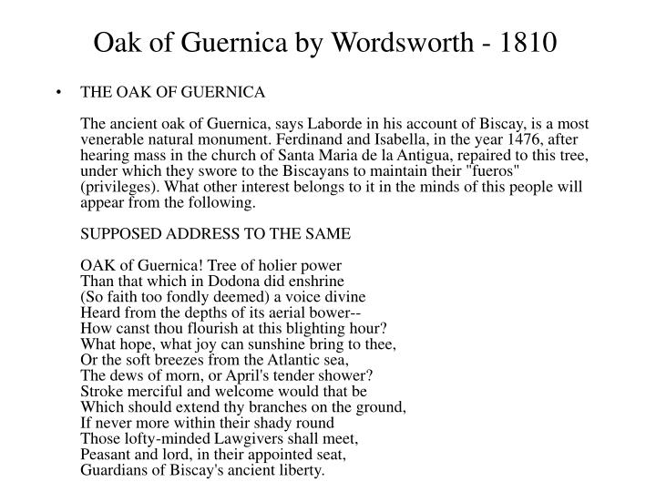 Oak of Guernica by Wordsworth - 1810
