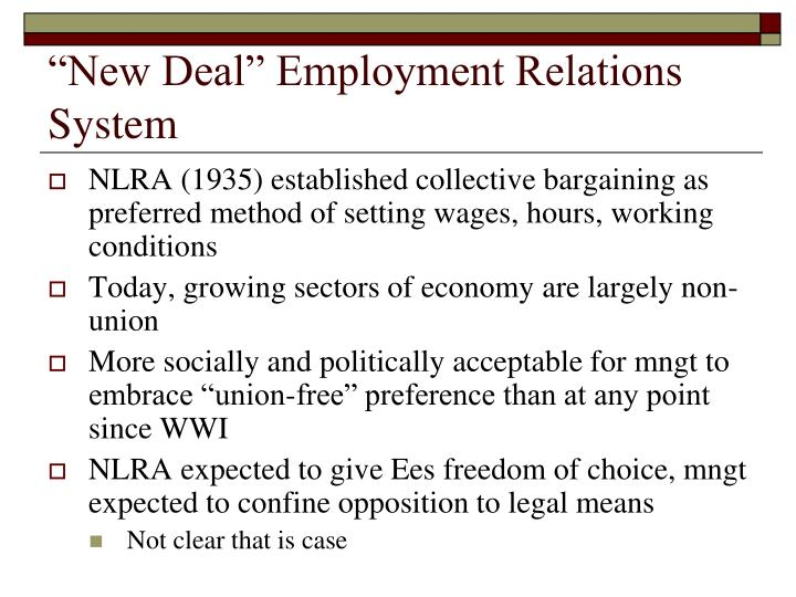 """""""New Deal"""" Employment Relations System"""