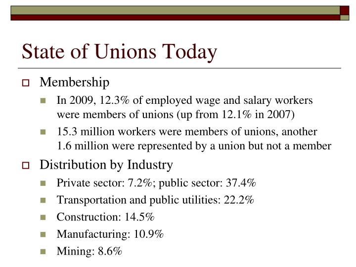State of Unions Today
