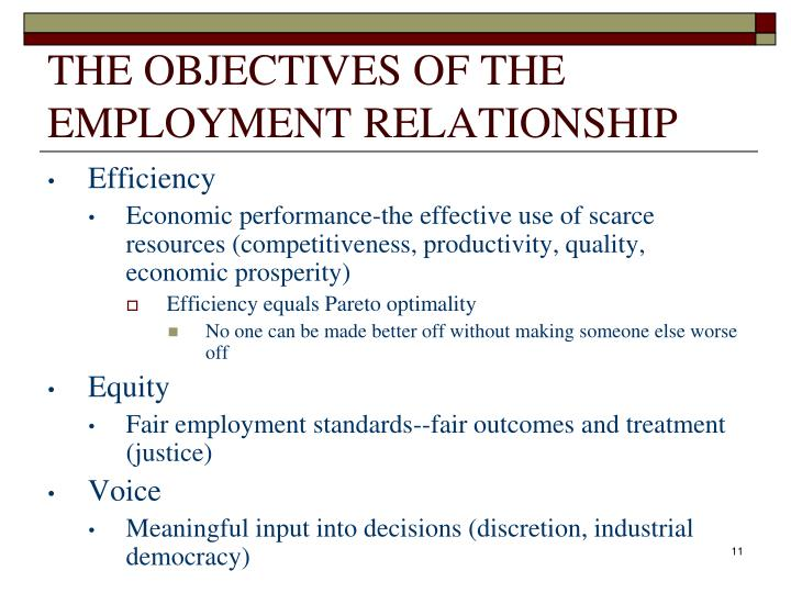 THE OBJECTIVES OF THE EMPLOYMENT RELATIONSHIP