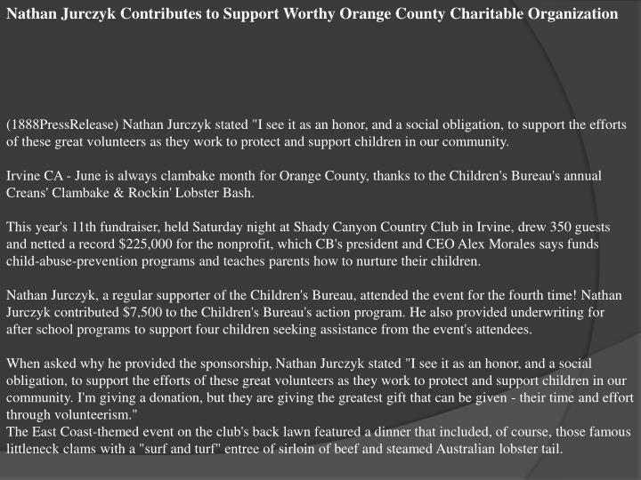 Nathan Jurczyk Contributes to Support Worthy Orange County Charitable Organization
