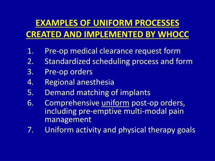 EXAMPLES OF UNIFORM PROCESSES