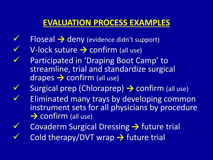 EVALUATION PROCESS EXAMPLES