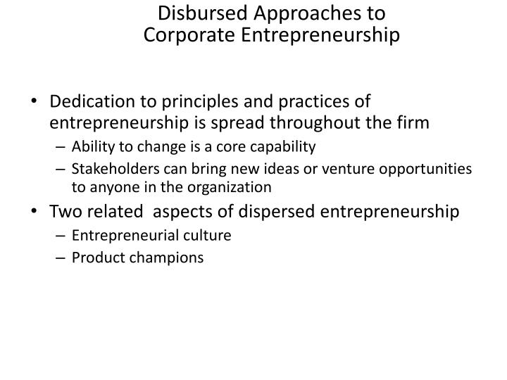 Disbursed Approaches to