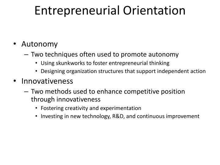 Entrepreneurial Orientation