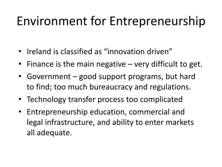 Environment for Entrepreneurship