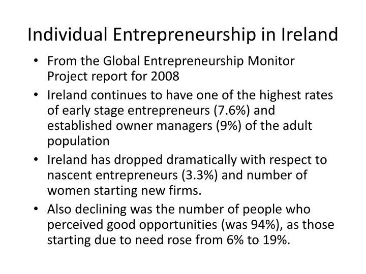 Individual Entrepreneurship in Ireland