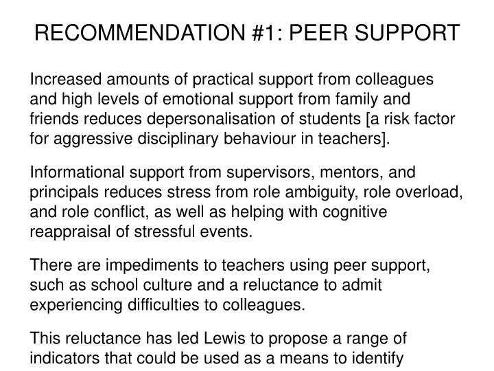 RECOMMENDATION #1: PEER SUPPORT