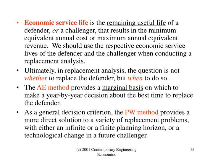 Economic service life
