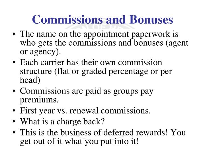 The name on the appointment paperwork is who gets the commissions and bonuses (agent or agency).