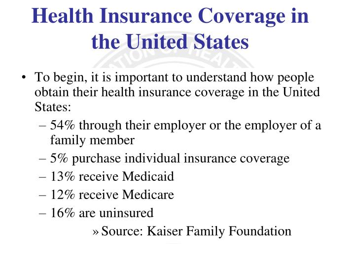 To begin, it is important to understand how people obtain their health insurance coverage in the United States: