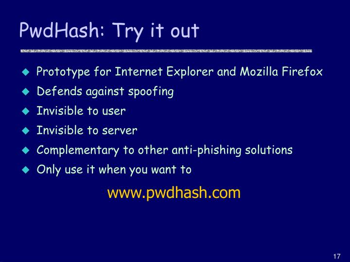 PwdHash: Try it out