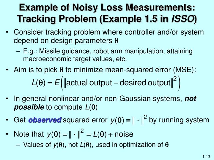 Example of Noisy Loss Measurements: Tracking Problem (Example 1.5 in