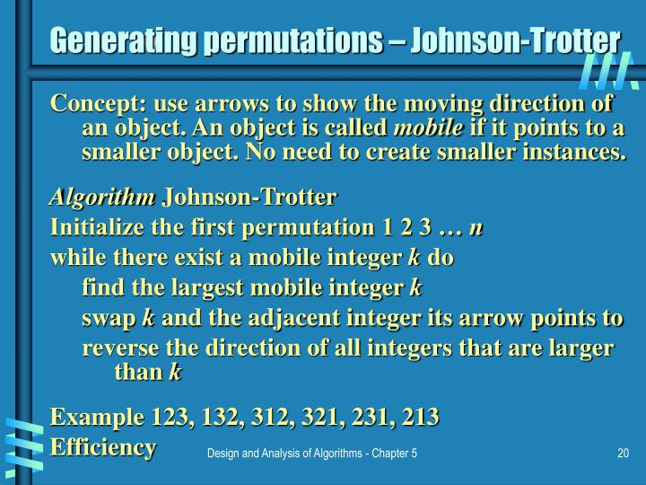 Generating permutations – Johnson-Trotter