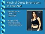 march of dimes information on folic acid