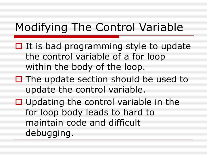 Modifying The Control Variable
