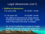 legal allowances con t