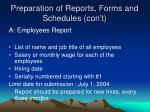 preparation of reports forms and schedules con t