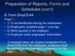 preparation of reports forms and schedules con t2