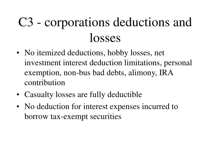 C3 - corporations deductions and losses
