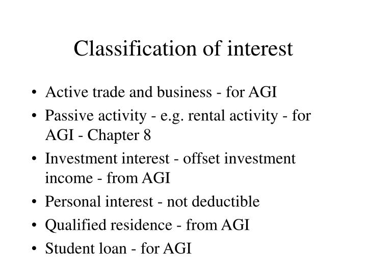 Classification of interest