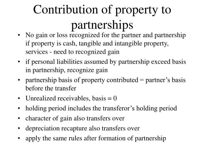 Contribution of property to partnerships